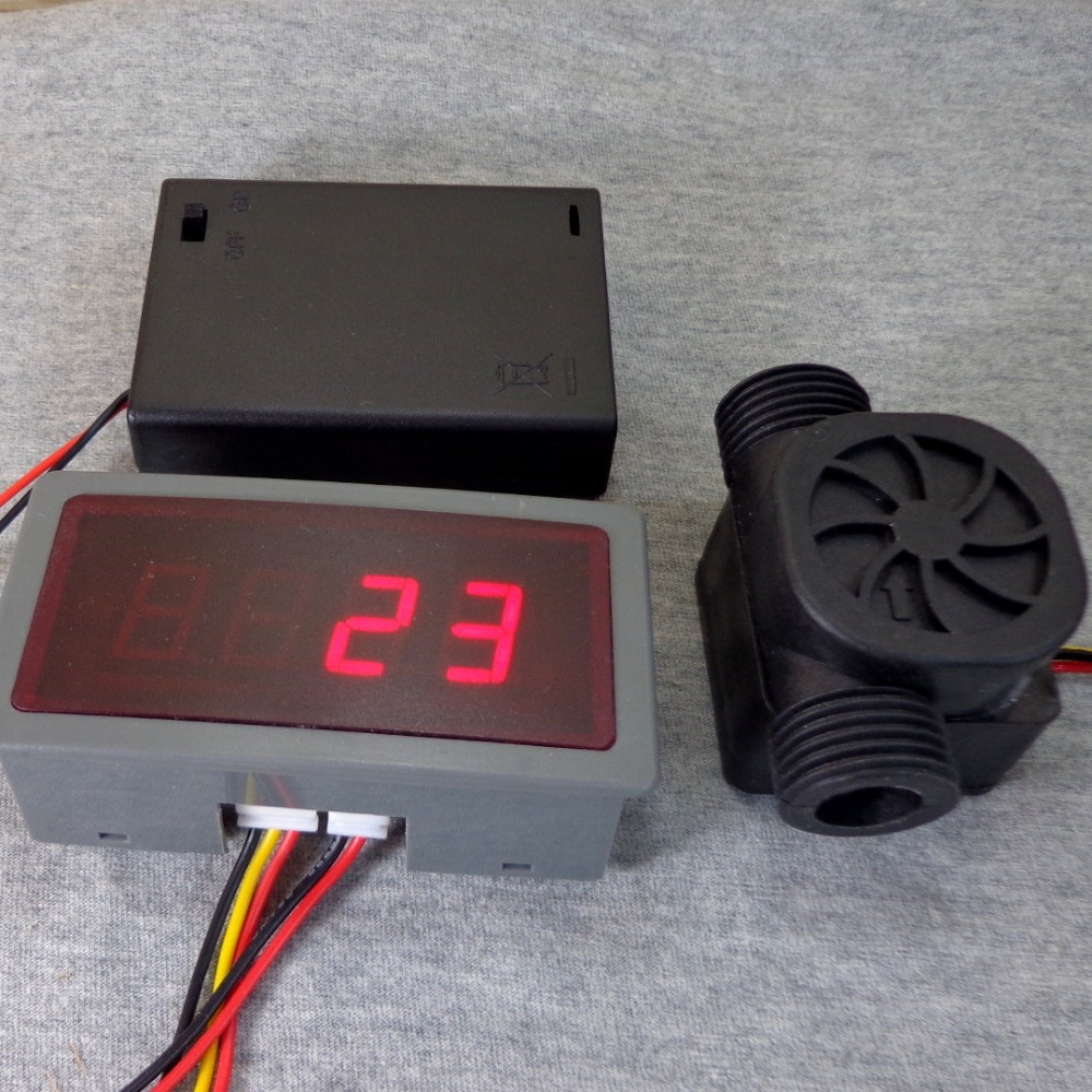 US208MA +USN-HS21TA 1-30L/min 1/2 flow sensor Flow Meter and Alarmer Flow Rate Display Frequency Counter Hall water Flow Sensor<br><br>Aliexpress