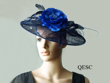 NEW BIG saucer sinamay hat bridal fascinator w/feathers,veiling,sequin for races,wedding,Kentucky derby,Church,navy blue/royal