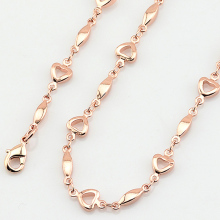 1pcs Womens Rose Gold Color Necklaces  Short Chains Heart Accessories Wholesale Retails Jewelry