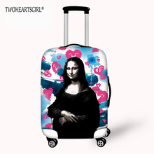TWOHEARTSGIRL Mona Lisa Printed Luggage Cover Waterproof Beautiful Suitcase Cover Scratch Dust-proof Luggage Protective Cover(China)