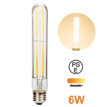 2PCS LED Bulb Lamp E27 4W 6W AC110 / 220V T10 Long Tube Retro Filament Bulb Warm White Dimmable Tungsten Light Indoor Lighting