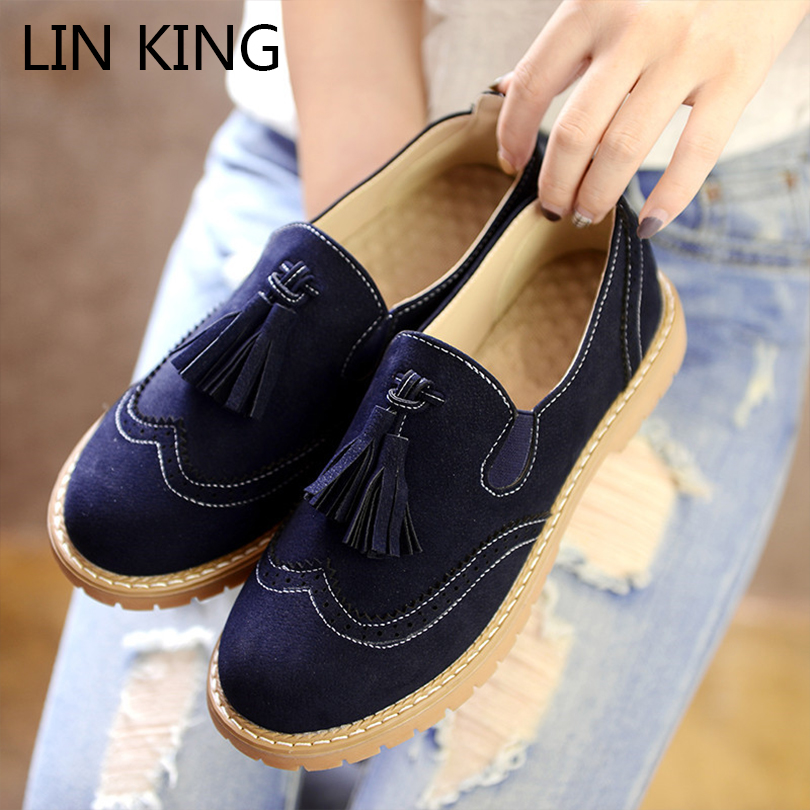 LIN KING Tassels Nubuck Leather Brogue Shoes Women Flats Thick Heel Ladies Shoes Autumn Oxford Shoes Low Top Slip-on Shoes<br><br>Aliexpress