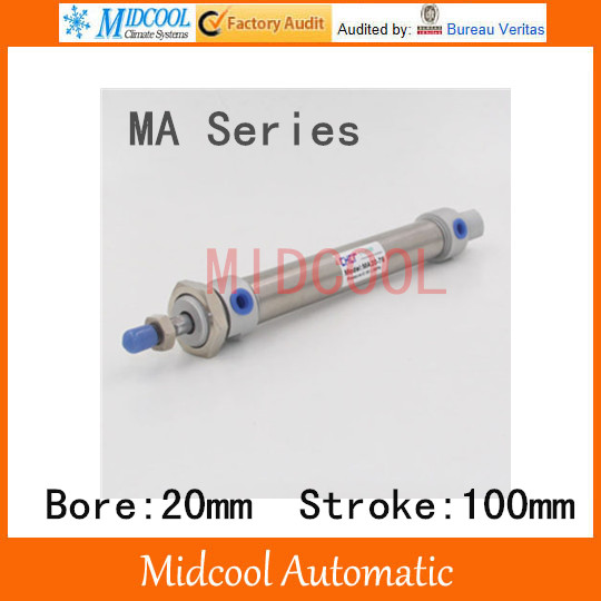 Mini air cylinder MA20-100 stainless steel bore 20mm stroke 100mm double acting small pneumatic cylinder<br><br>Aliexpress