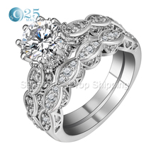 Top rings set for women wedding band white simulated Gem jewerlly CZ stone engagement ring bridal anniversary gift