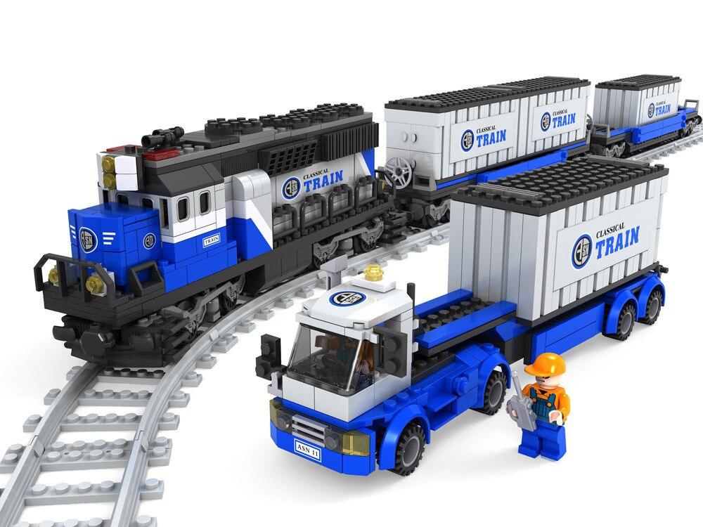 Model building kits compatible with lego ausini train succession1 3D blocks Educational model building toys hobbies for children<br>