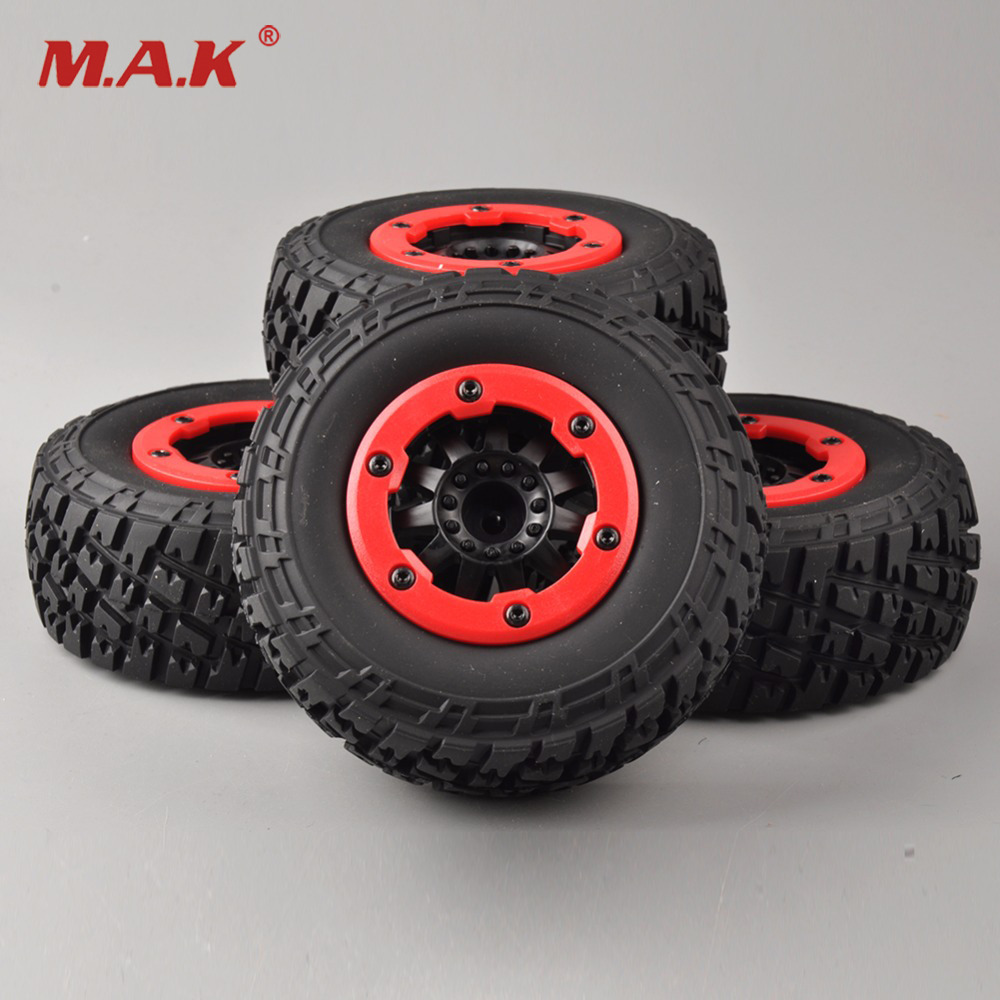 4 Pieces/Set Short Clips Rubber Tires and Wheels 12mm Hex for 1/10 Truck Rally RC Car Models 30005<br>