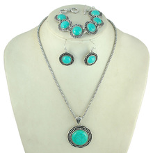 Natural Turquoise Jewelry Set Turquoise 3 pcs Retro Antique Tibet  Silver Plated Bracelet Necklace Earring Sets for Women Gifts