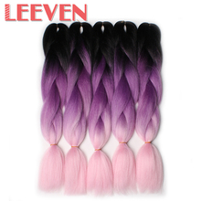 Leeven 24''100g/Pack Synthetic Straight Crochet Braid hair Black Ombre Gray DIY Braiding False Hair Extensions Kanekalon 5piece