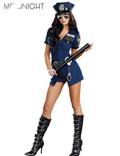 MOONIGHT 3 Pcs New Ladies Police Fancy Halloween Costume Sexy Outfit Woman Cosplay Police for Women(China)