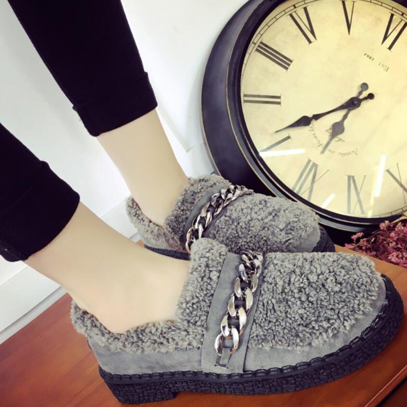 2017 Autumn Winter Women Lady Elegant Casual Warmth Cotton Slippers Faux Lamb Wool Slip On Mujer Female Loafers Flat Shoes G325<br><br>Aliexpress