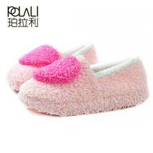 POLALI Lovely Ladies Home Floor Soft Women indoor Slippers Outsole Cotton-Padded Shoes Female Cashmere Warm Casual Shoes(China)