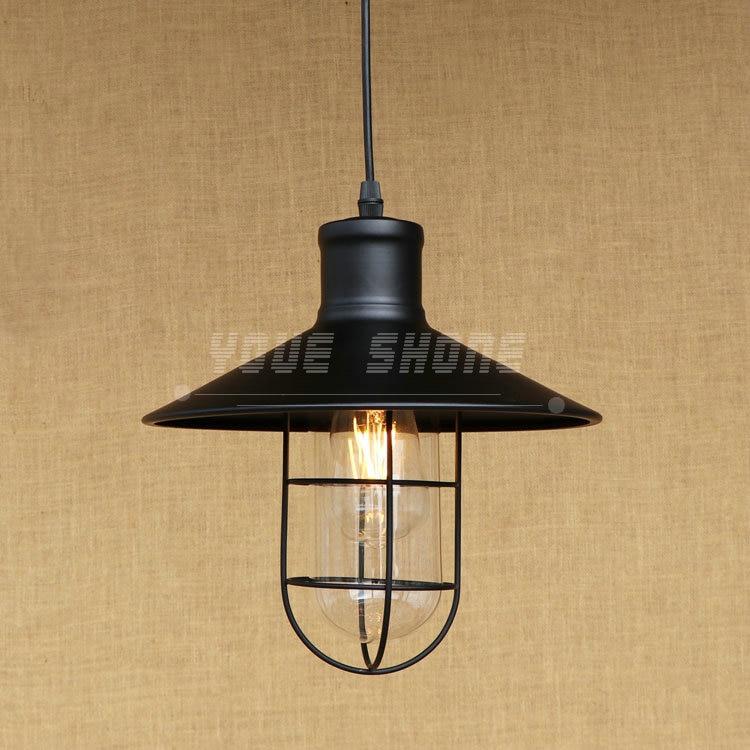 American country style retro industrial warehouse glass lamp wrought iron bar restaurant e27 220v 110v bar pendant light<br>