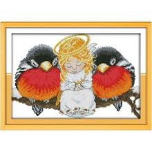 Ангел и птицы Счетный крест ручной 11CT 14CT вышивки крестом мультфильм хлопок вышивка крестом Наборы Вышивка для рукоделия(China)