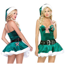 2016 New Adult Sexy Green Elf Velvet Santa Ladies Costume Fantasy for Women Halloween Christmas party Fancy Dress costume Outfit