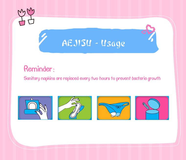 Korea 6pcs AEJISU organic cotton heavy flow over Night Sanitary Napkins pad 3mm feminine hygiene products menstrual towel pads 24