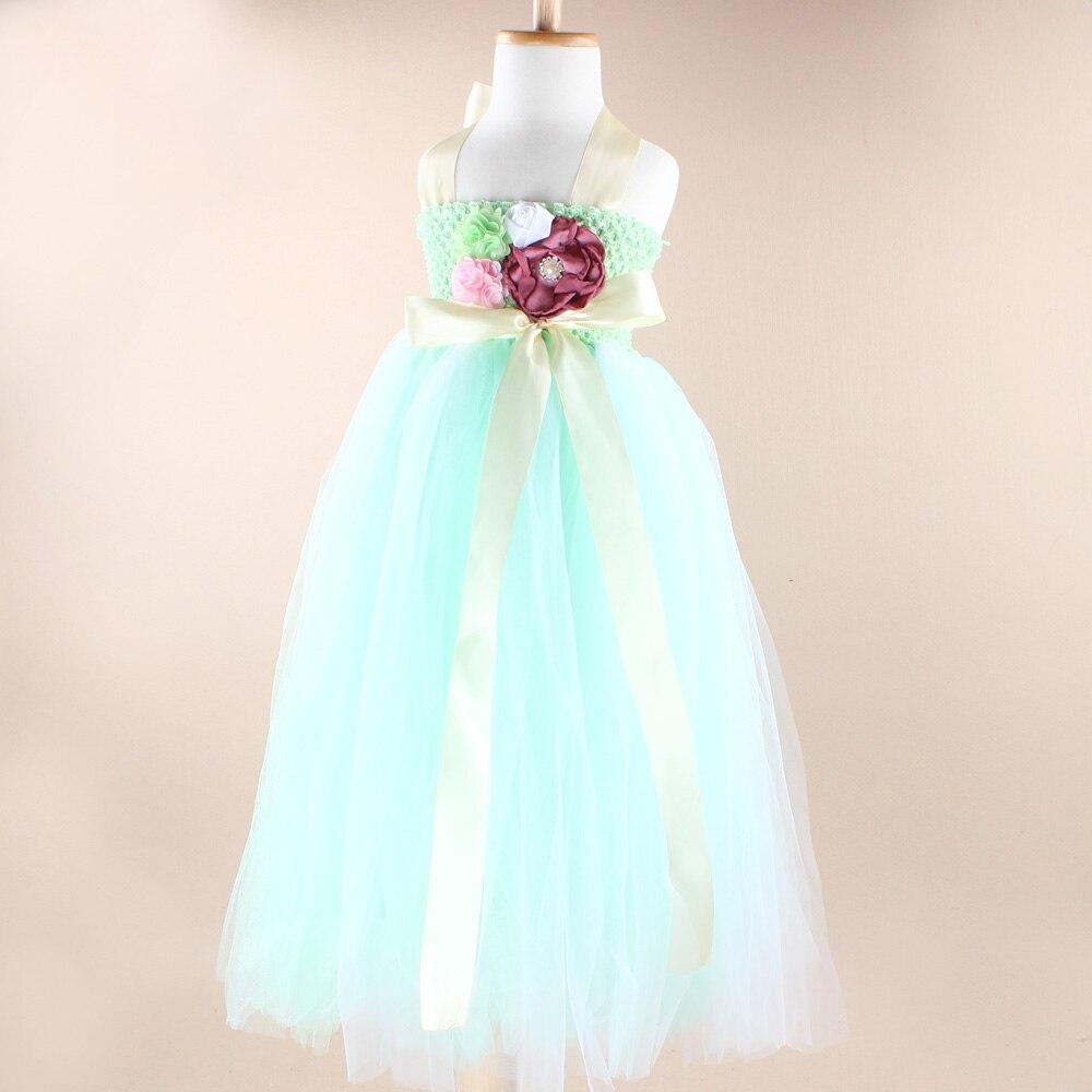 Floor-Length Adjustable Shoulder Straps Mint and White Flower Girl Tutu Dress Fashion Dancing Birthday Wedding Dress TS053<br><br>Aliexpress