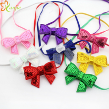 2017  Cute 1.8'' inch Sequin Bows Elastic Thin Headbands Infantile Girl Boutique Hair Bow Hairband  20pcs/lot For Kids