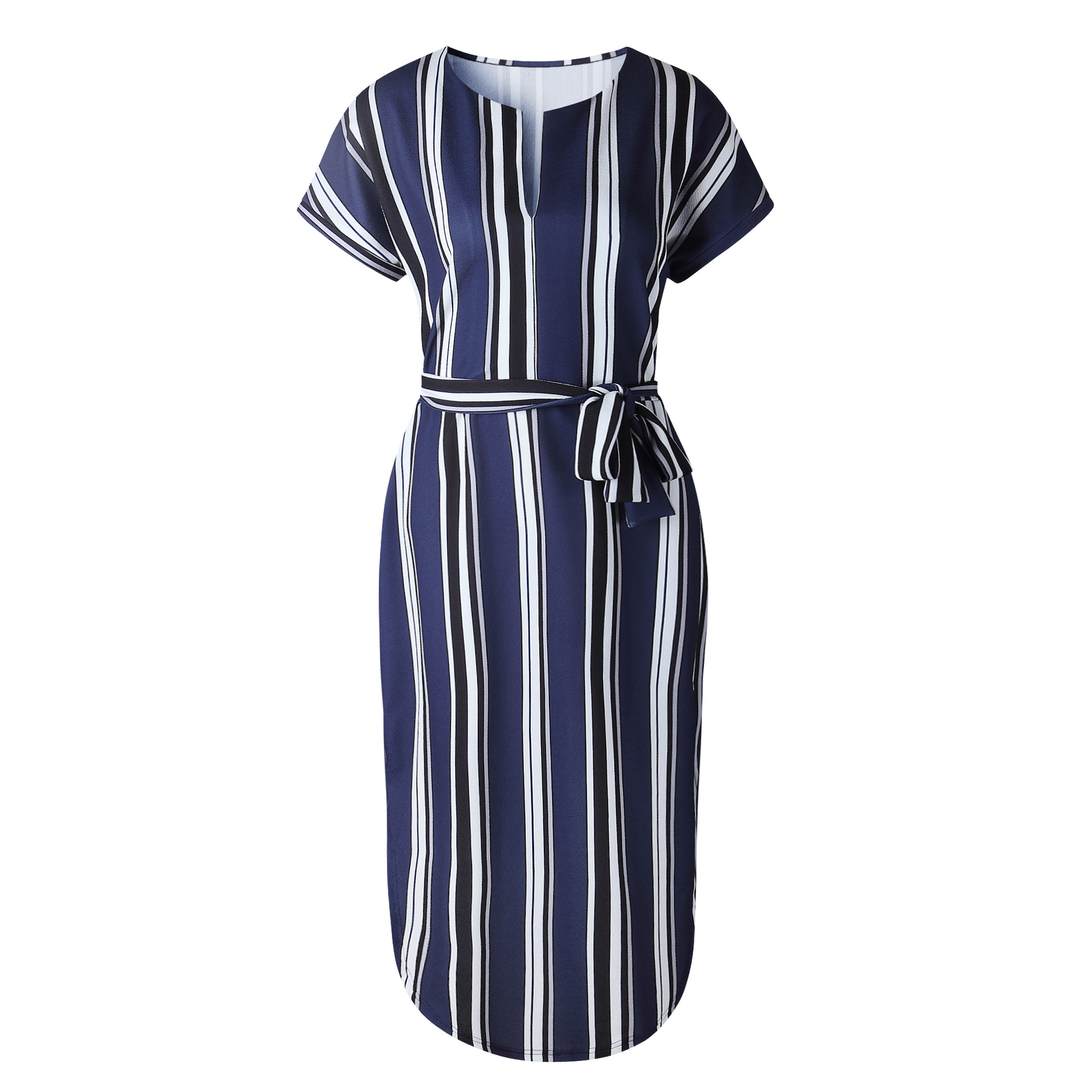 2018 Summer Dress Women Print V Neck Short Sleeve Robe Female Dresses Casual Sashes Midi Dress Ladies Elegant Vestidos Dropship 35