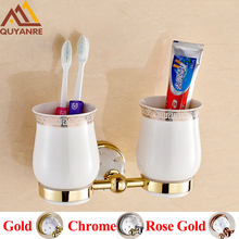 Quyanre Bathroom Hardware Crystal Brass Toothbrush Holders Gold Wall mounted With Ceramic Cup Holder Bathroom Accessories(China)