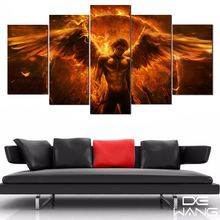 5 Piece Canvas Art Paintings By Numbers Wall Pictures Canvas Oil Painting Calligraphy Devil May Cry Angel Wings Pictures(China)