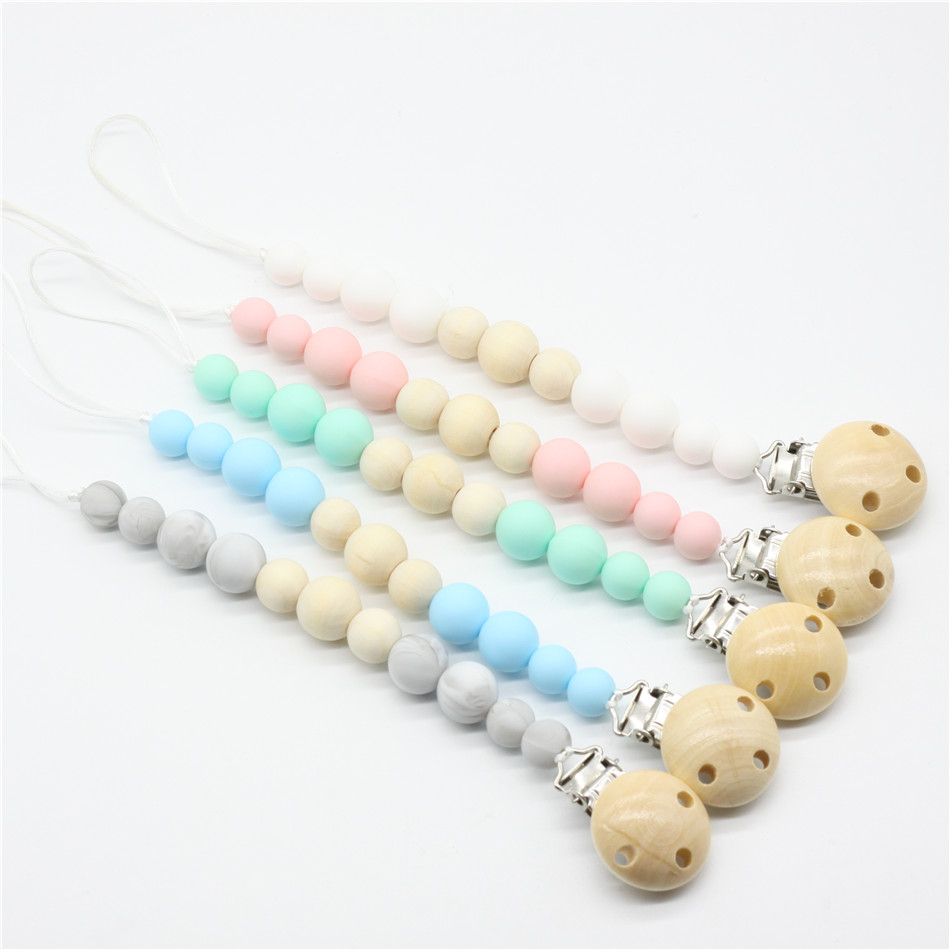 2017 Nipple Holder Beaded Wooden Baby Pacifier Clip Chain Nipple Leash Strap wood Pacifier Clips Soother Chain