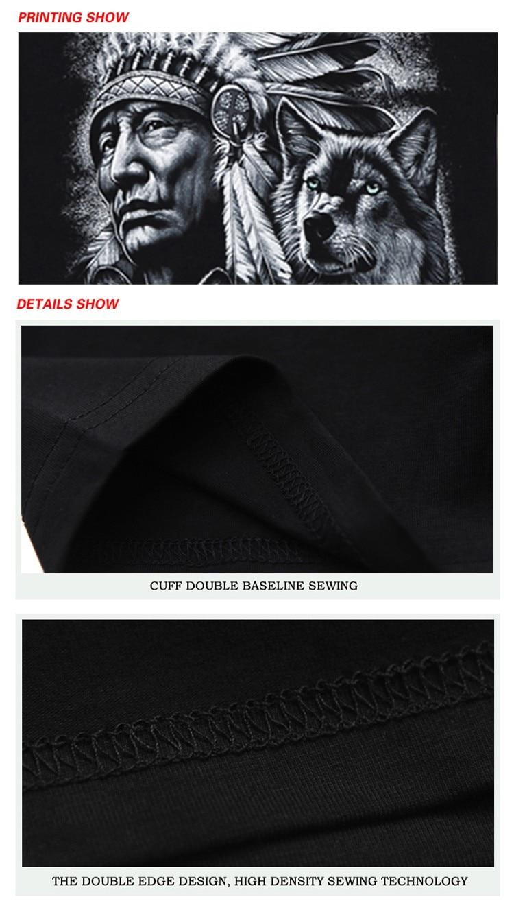 Rocksir 3d wolf t shirt mens Brand 3D Indians wolf Print t shirts Cotton wolves Men t-shirt Casual Man Tees Mens Tops 4