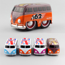Miniature Scale kids Pull back volkswagen cartoon i love london flag school vw bus metal diecast model cars toys for boys gifts