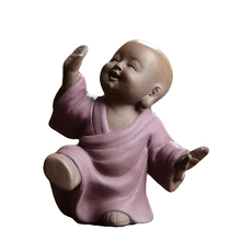 China Tea Set Accessory Home Decoration Yunshang Tea Pet Purple Sand Tea Pet Happy Little Monk Handmade Small Decro W $(China)