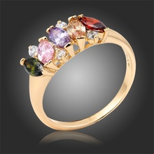 Yellow Gold Color Paved Marquise Cut Multi Color Gem & Cubic Zircon Ring Size5 6 7 8 9 Women Wedding Engagement Jewelry Bague