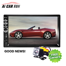 "7"" Bluetooth2.0 2DIN Car Radio Audio Stereo Player Handsfree TFT Taouch Screen 7018B Car MP5 Player TF/SD MMC USB FM with camera"