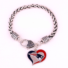 Zinc Alloy Rhodium Plated Thick Chain Football Sports Team Logo Enamel New England Patriots Bracelet