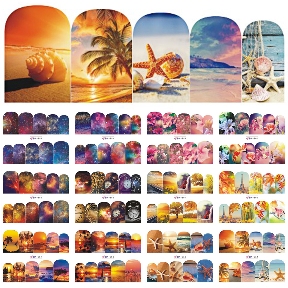 12 Designs Nail Polish Sticker Water Decals Summer Beach Starry Sky Floral Slider Nail Art Decor Full Wraps Manicure BEBN853-864