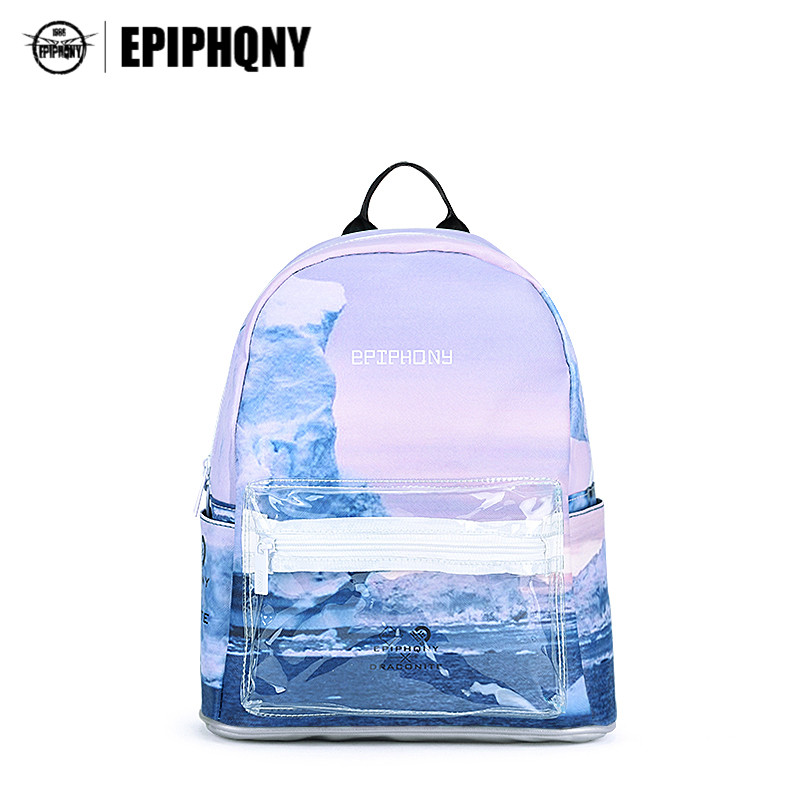Epiphqny Famous Brand Transparent Pocket Backpacks Korean Mori Girl School Bags 3D Printing Fresh Iceberg Summer Bagpack Small<br>