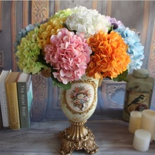 1 Bouquet High Quality Silk Flower European Artificial Flowers Ball Hydrangea Fake Leaf Wedding Party Arrangements Decoration