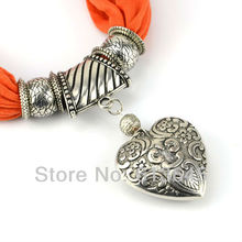 Love Heart Pendant Scarf, Women New Jewelry Charm Heart Pendant Jewellery Necklace Scarves Free Shipping SC0009