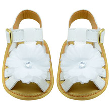 0-18M White Summer Infant Flower Cotton Flat Rain Shoes Soft Sole Cool Kid Girls Baby Sandals Clogs