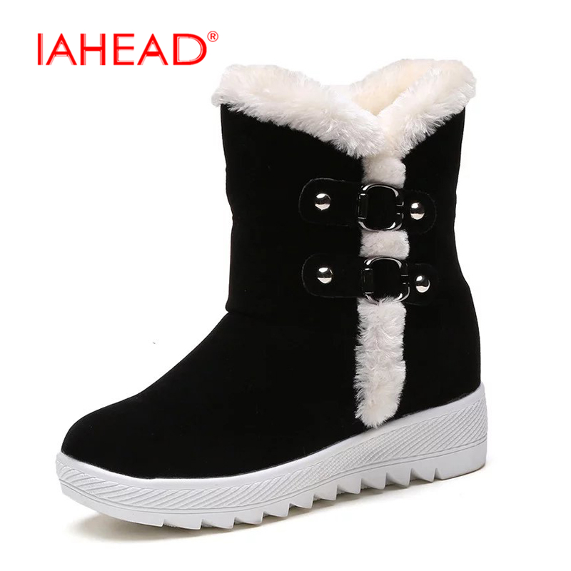 2017 Brand New Snow Boots Shoes Women Winter Ankle Boots Flats Red Black Shoes Casual Fashion Style bota feminina bota UPA317<br>