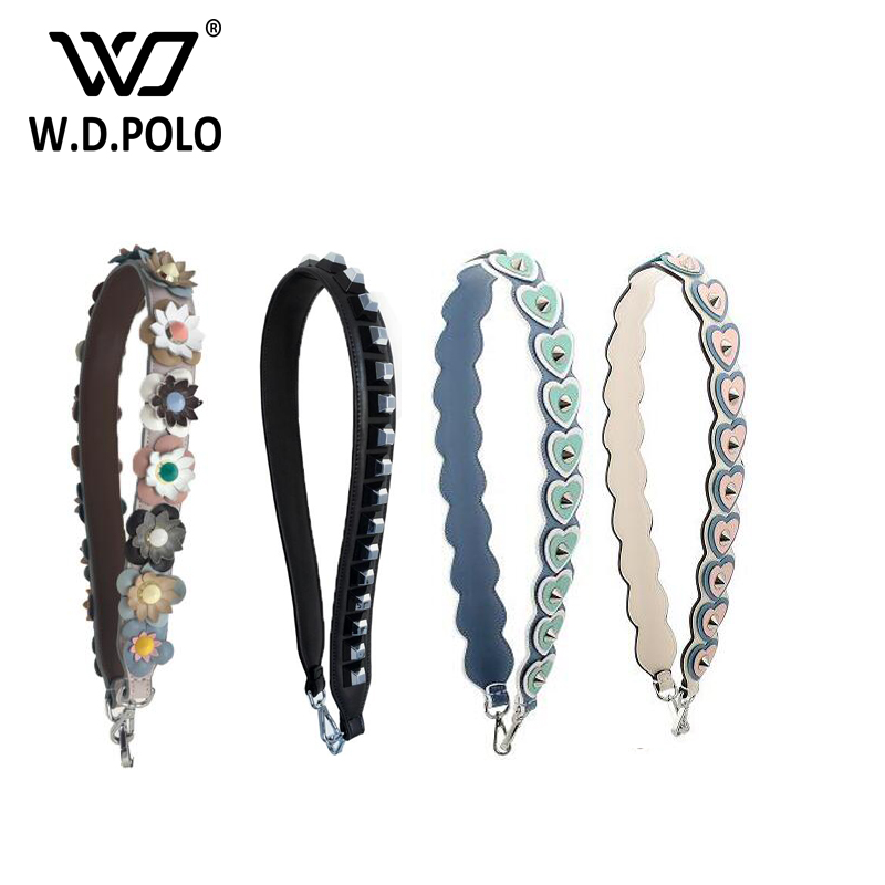 WDPOLO strap you new design heart and flower genuine leather strap for bags rivet fashionable belt for bags easy matching z1081<br>