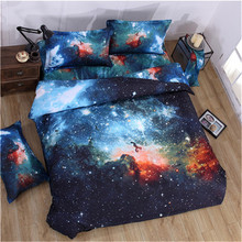 high quality 3d Galaxy Duvet Cover Set Single double Twin/Queen 2pcs/3pcs/4pcs bedding sets Universe Outer Space Themed Bed Line