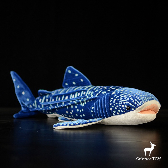End of a single doll blue large plush animal ocean True shark doll Blue whale sharks Plush Simulated marine animals gift<br>