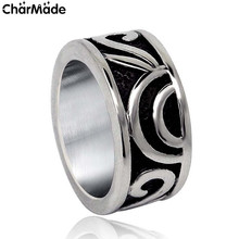 9.5mm Stainless Steel Mens Ring Wedding Band with Engraved Vintage Pattern Design Fashion Party Jewelry Size 7-12 CharMade R608