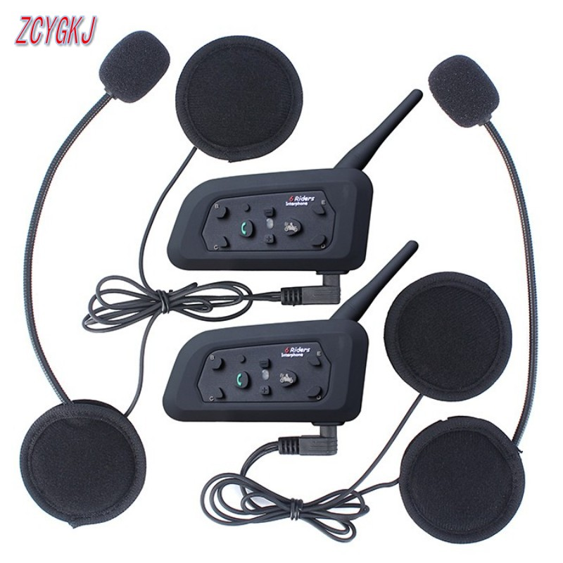 2 pcs V6 Helmet Intercom 6 Riders 1200M Motorcycle Bluetooth Intercom Headset walkie talkie Helmet BT Interphone(China)