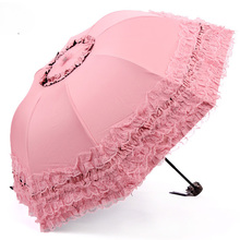 New Arrival Brand Umbrella Women Lace Rain&Sun Sweet Princess Umbrella UV Protection Three Folding Durable Spitze Regenschirm(China)