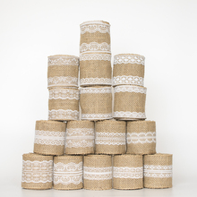 Wedding Event Decoration Rustic Vintage Craft Gift , Natural Burlap Ribbon Jute roll White Lace , 2 meters / lot(China)