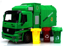 Big Size Jumbo Children's Large Man Side Loading Garbage Truck Can Be Lifted With 3 Rubbish Bin Toy Car Wholesale(China)
