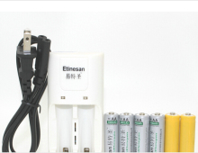4pcs Etinesan 3.2v 600mAh 14500 AA LiFePo4 lithium rechargeable battery W/ dummy + 14500 10440 aa aaa charger Market lack