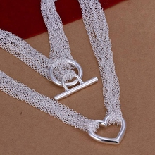 silver plated fashion jewelry Necklace pendants Chains, 925 jewelry silver plated necklace Web Heart Necklace rkzm pady