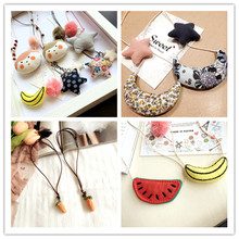 Korea Cloth Children Girl Kids Necklace & Pendant Star Banana Watermelon Carrot Baby Chain Collier Collars Jewelry-SWCGNL001E