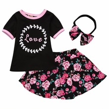 3pcs 2017 toddler children clothes  infant Children Kids Baby Girls T-shirt Tops Floral Skirts Outfits Set Party Dress 1-6Y