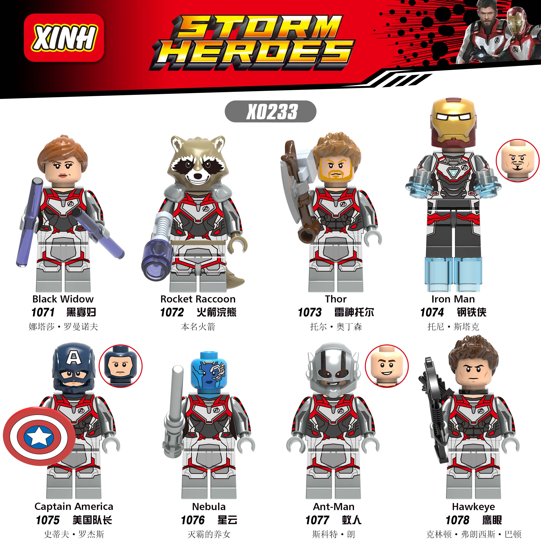 Legoing Marvel Avengers 4 Endgame Figures Thanos Thor Rocket Raccoon War Machine Black Widow Nebula Building Block Toys Legoings